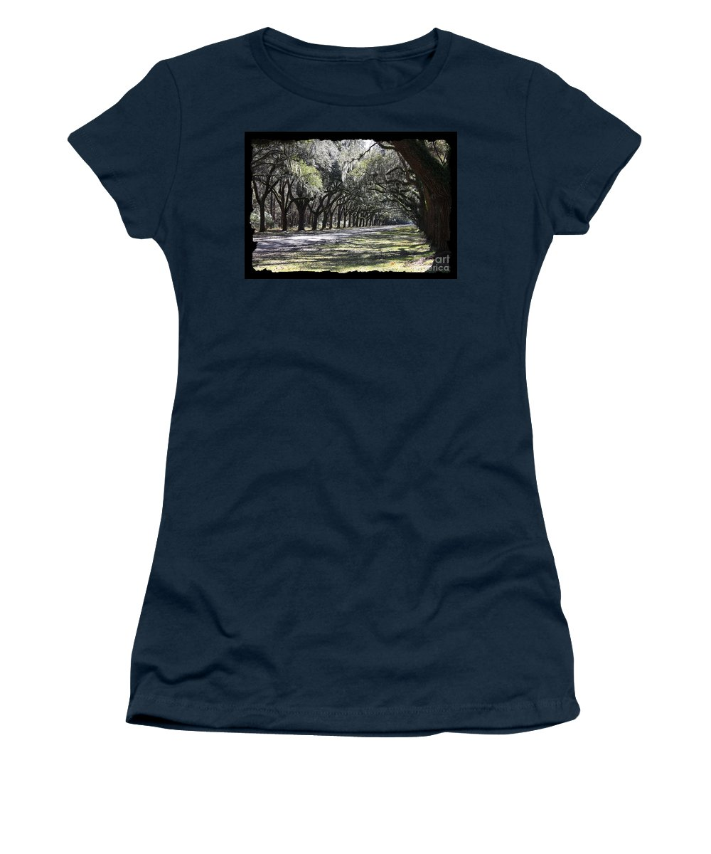 Live Oaks Women's T-Shirt (Athletic Fit) featuring the photograph Green Lane With Live Oaks - Black Framing by Carol Groenen