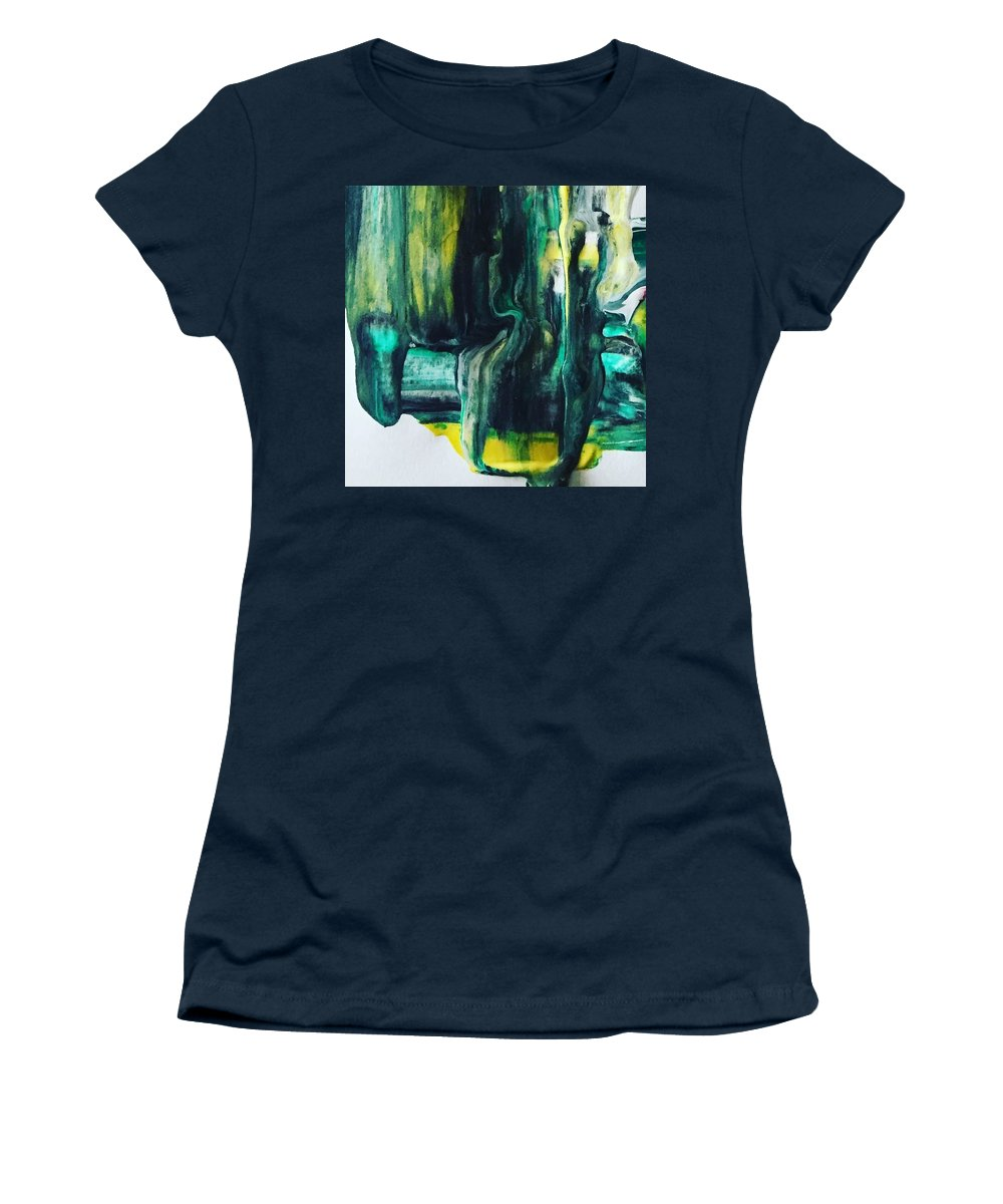 Abstract Art Women's T-Shirt (Athletic Fit) featuring the painting Greenish by Dawn Sawyers