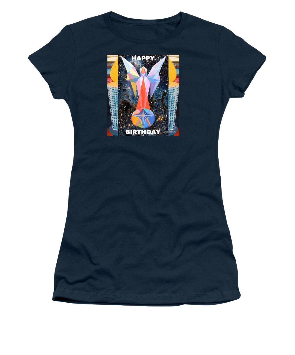 Wishes Women's T-Shirt featuring the painting Happy Birthday- Candle - 1 by Michael Bellon