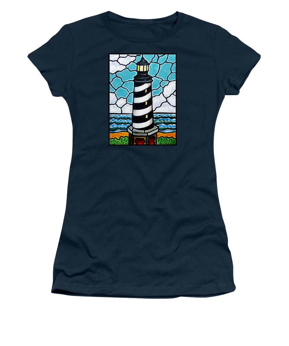 Lighthouse Women's T-Shirt (Athletic Fit) featuring the painting Hatteras Island Lighthouse by Jim Harris