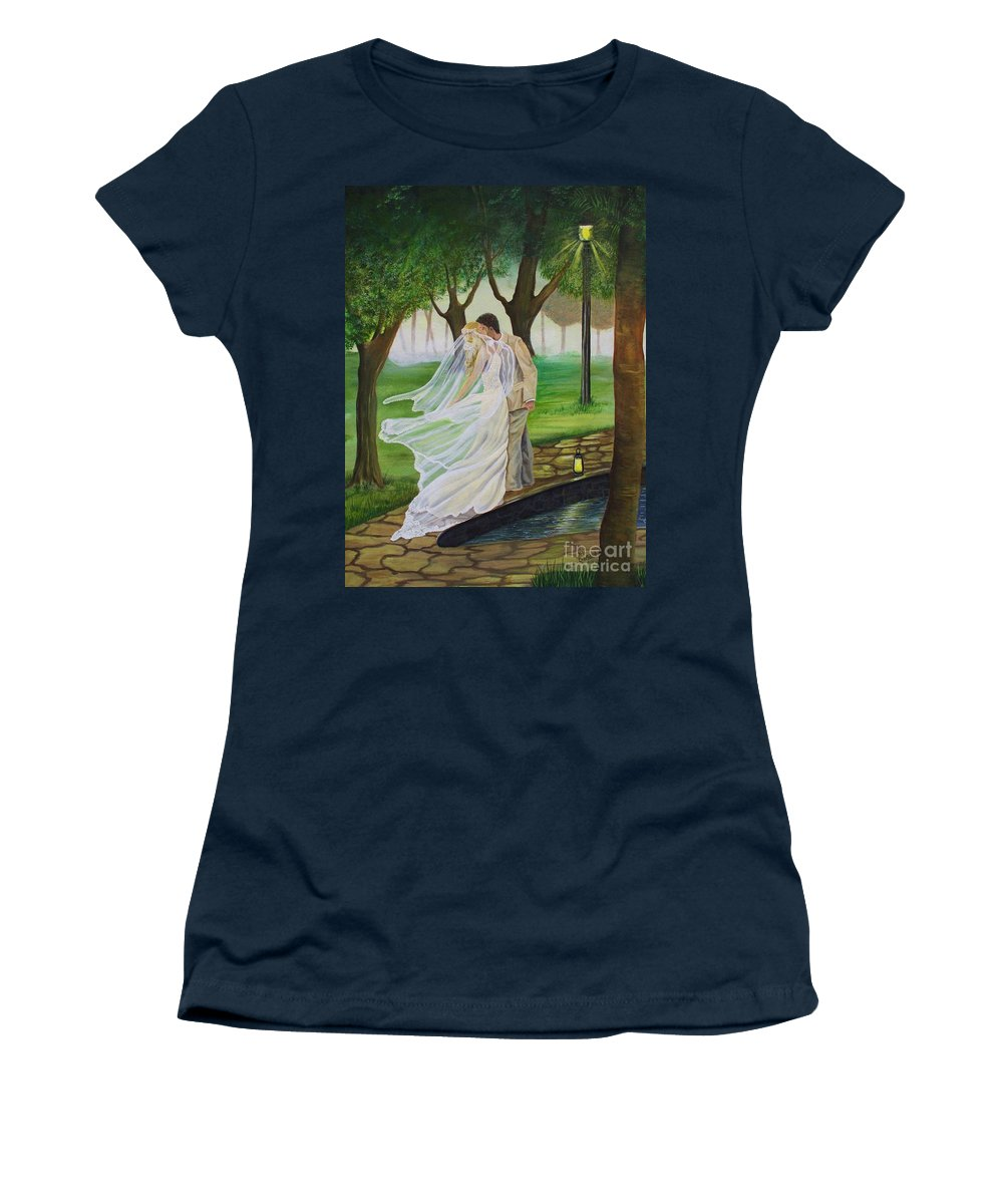 Bride And Groom Women's T-Shirt featuring the painting Heart To Heart by Kris Crollard