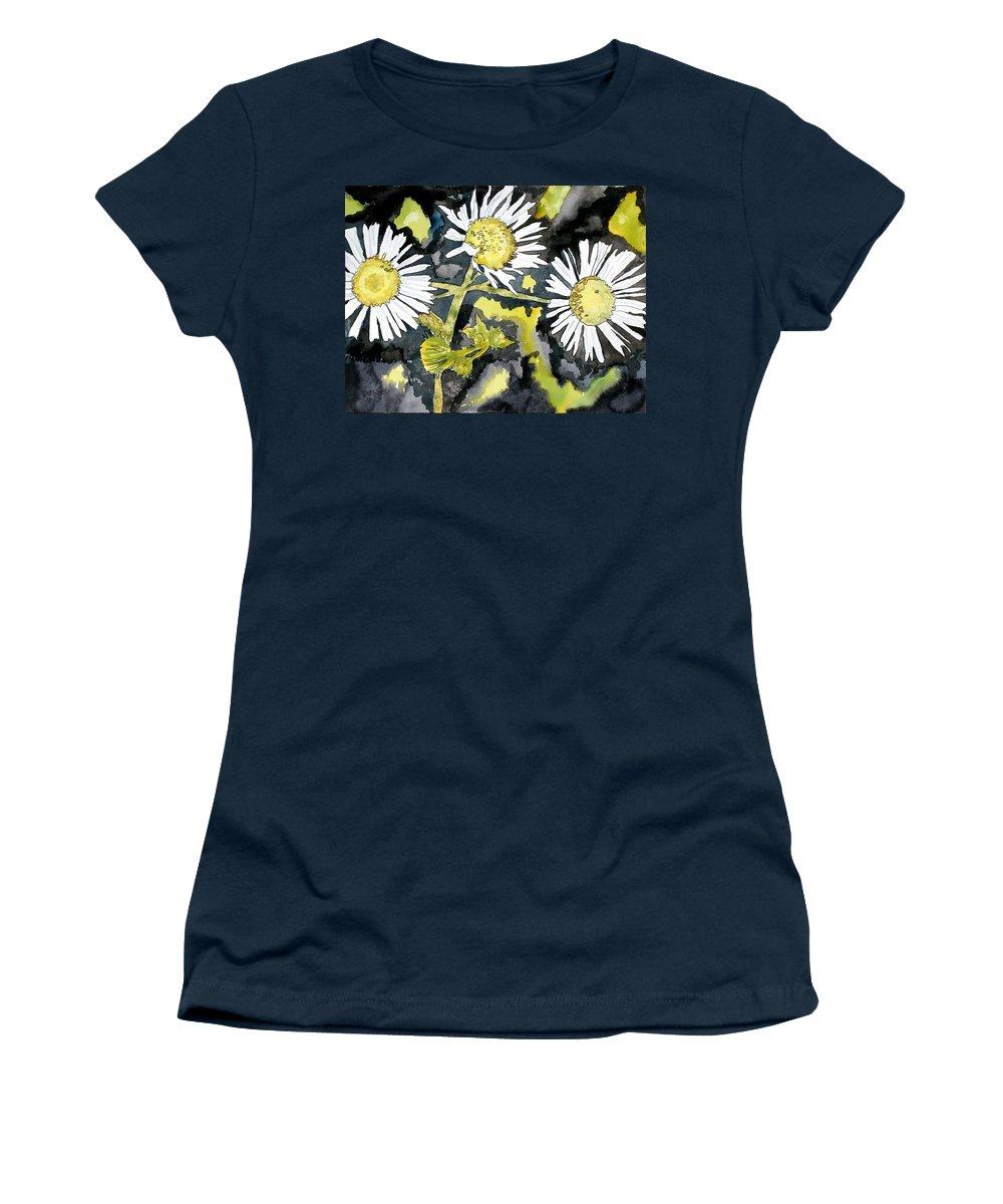 Wildflower Women's T-Shirt featuring the painting Heath Aster Flower Art Print by Derek Mccrea
