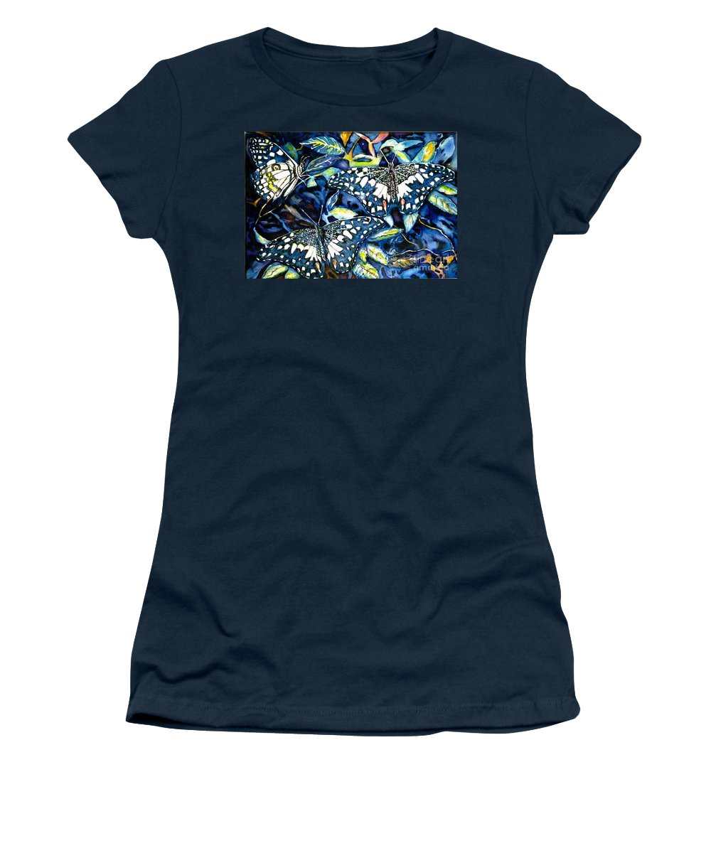 Butterfly Artwork Women's T-Shirt featuring the painting Heavenly Jewels by Norma Boeckler