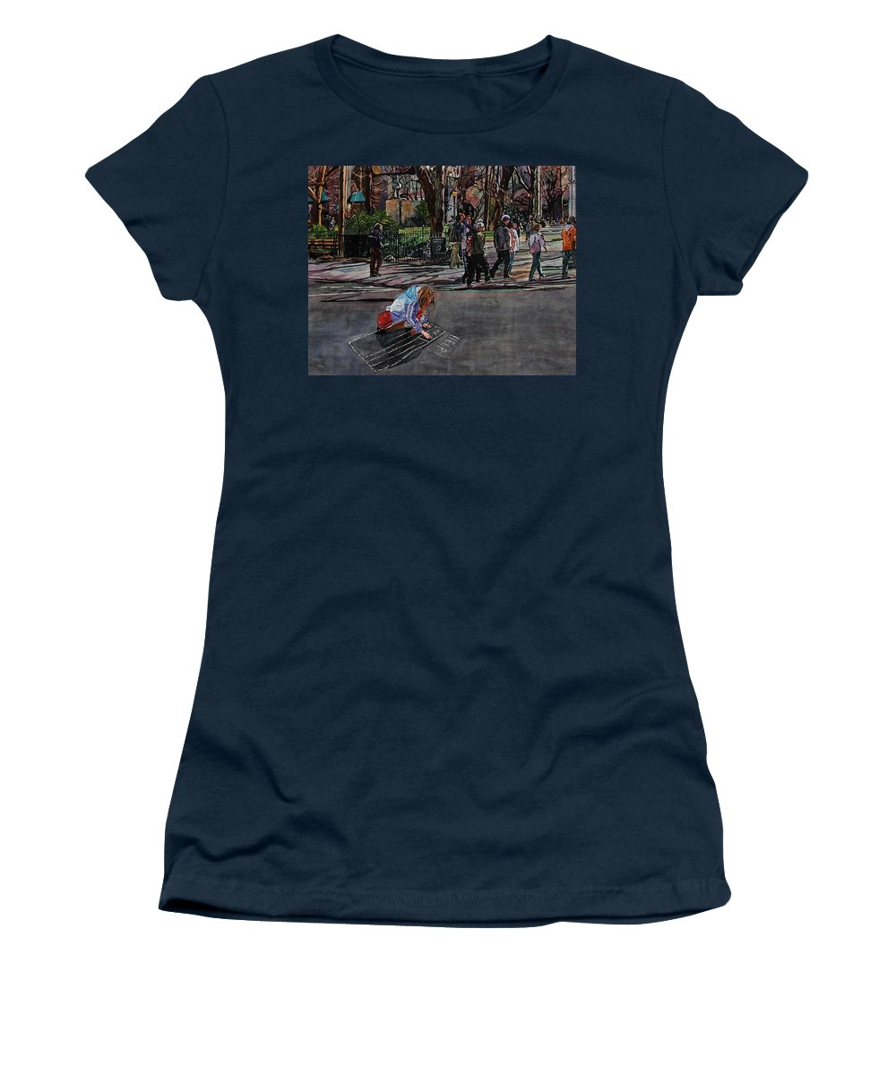 Political Women's T-Shirt featuring the painting Help by Valerie Patterson