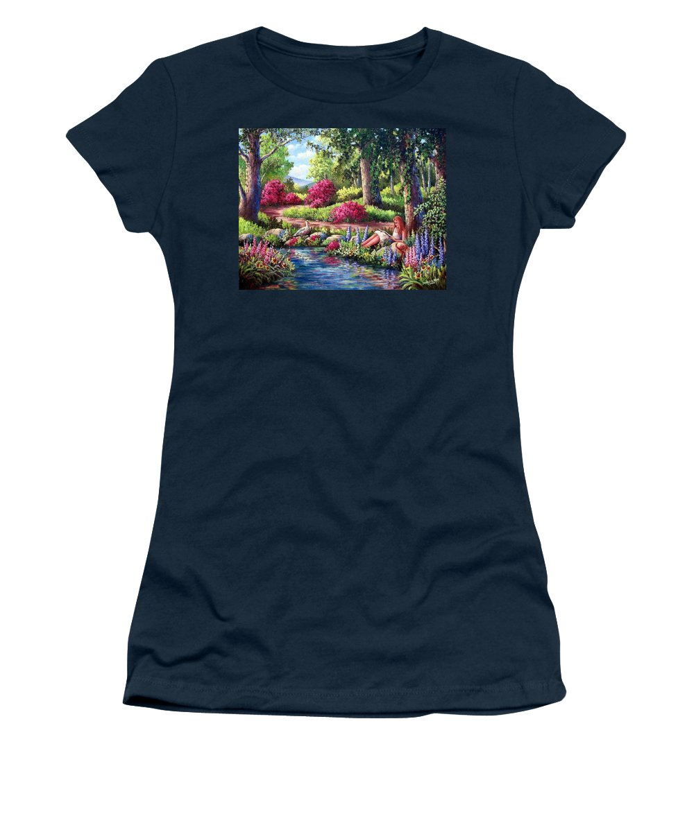 Read Women's T-Shirt featuring the painting Her Reading Hideaway by David G Paul