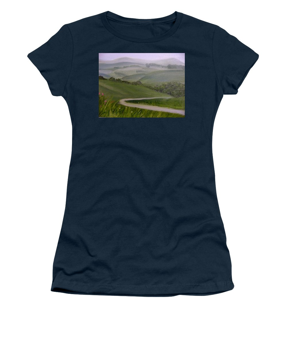 Pathway Women's T-Shirt featuring the painting Highway into the Hills by Toni Berry