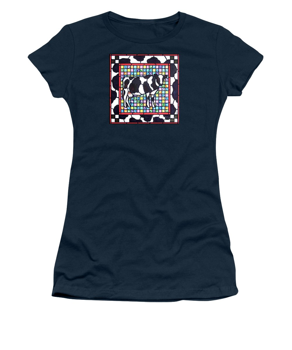 Cattke Women's T-Shirt (Athletic Fit) featuring the painting Holstein 3 by Jim Harris