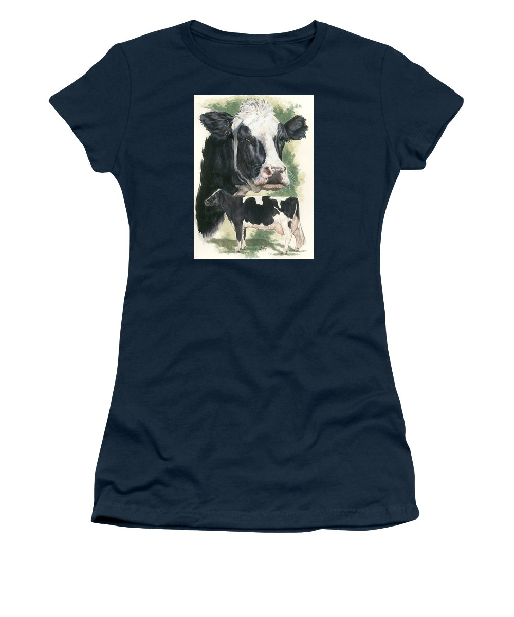 Cow Women's T-Shirt (Athletic Fit) featuring the mixed media Holstein by Barbara Keith
