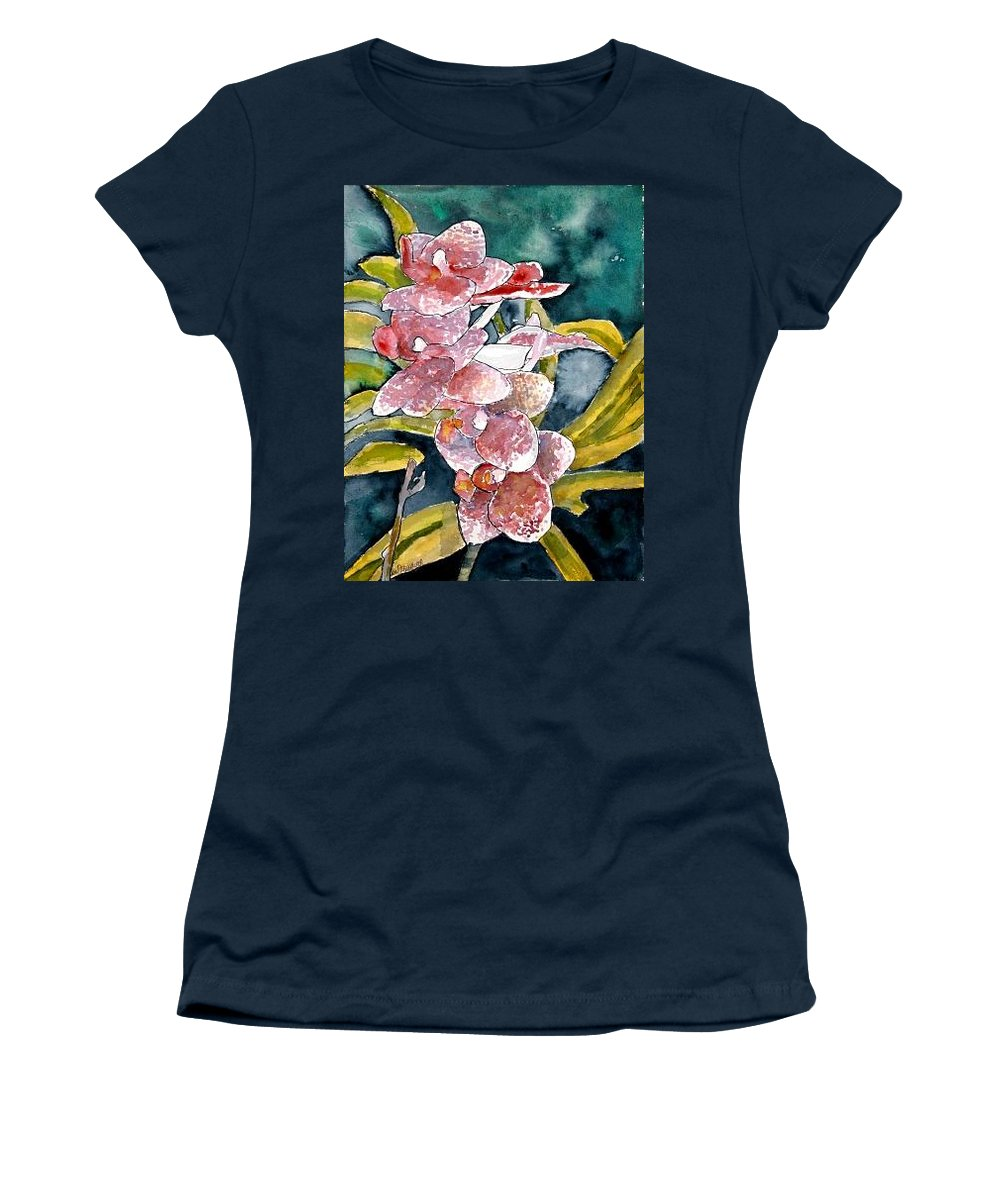 Orchid Women's T-Shirt featuring the painting Hybrid Orchids Orchid Flowers by Derek Mccrea