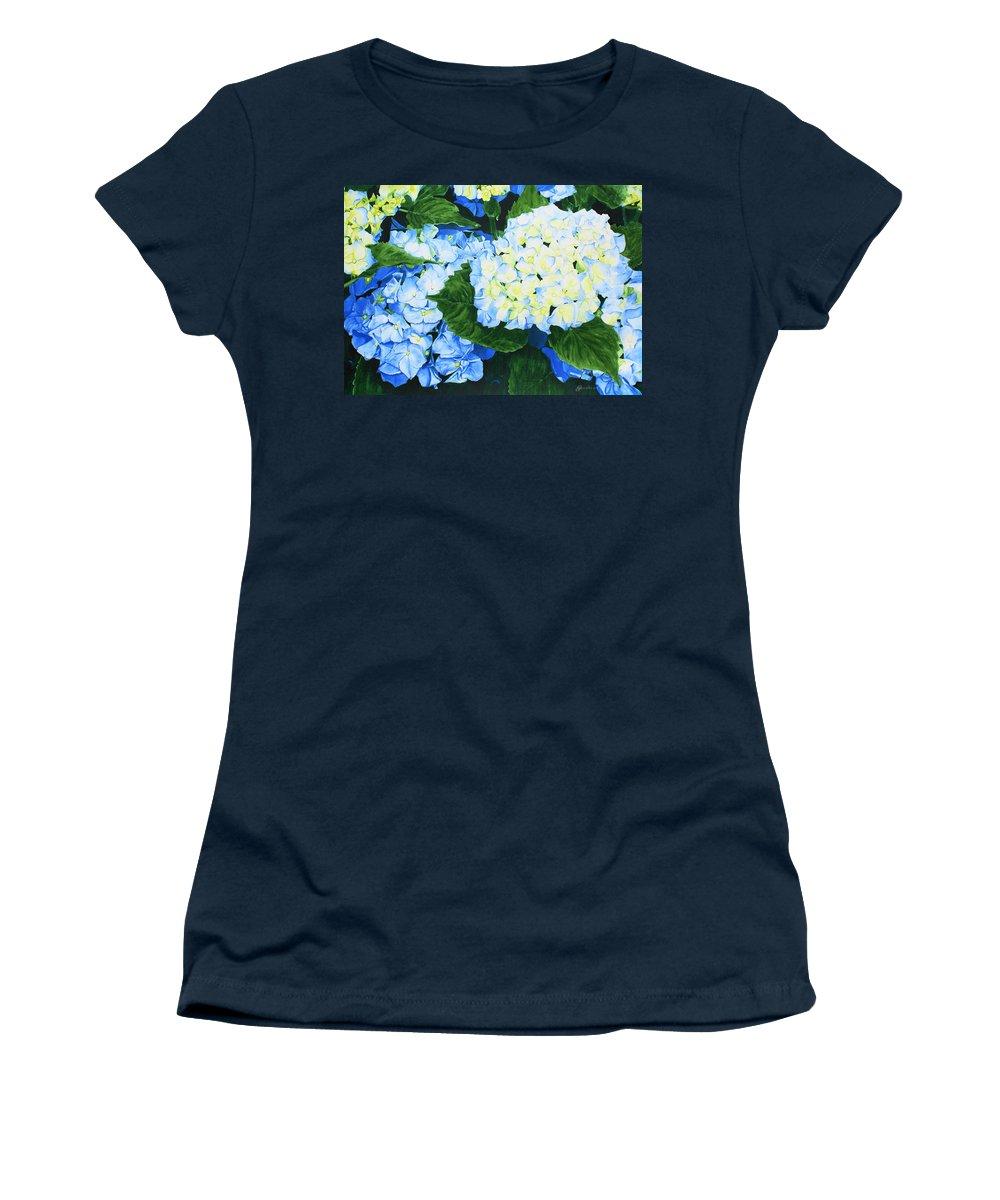 Hydrangeas Women's T-Shirt (Athletic Fit) featuring the painting Hydrangeas by Frank Hamilton