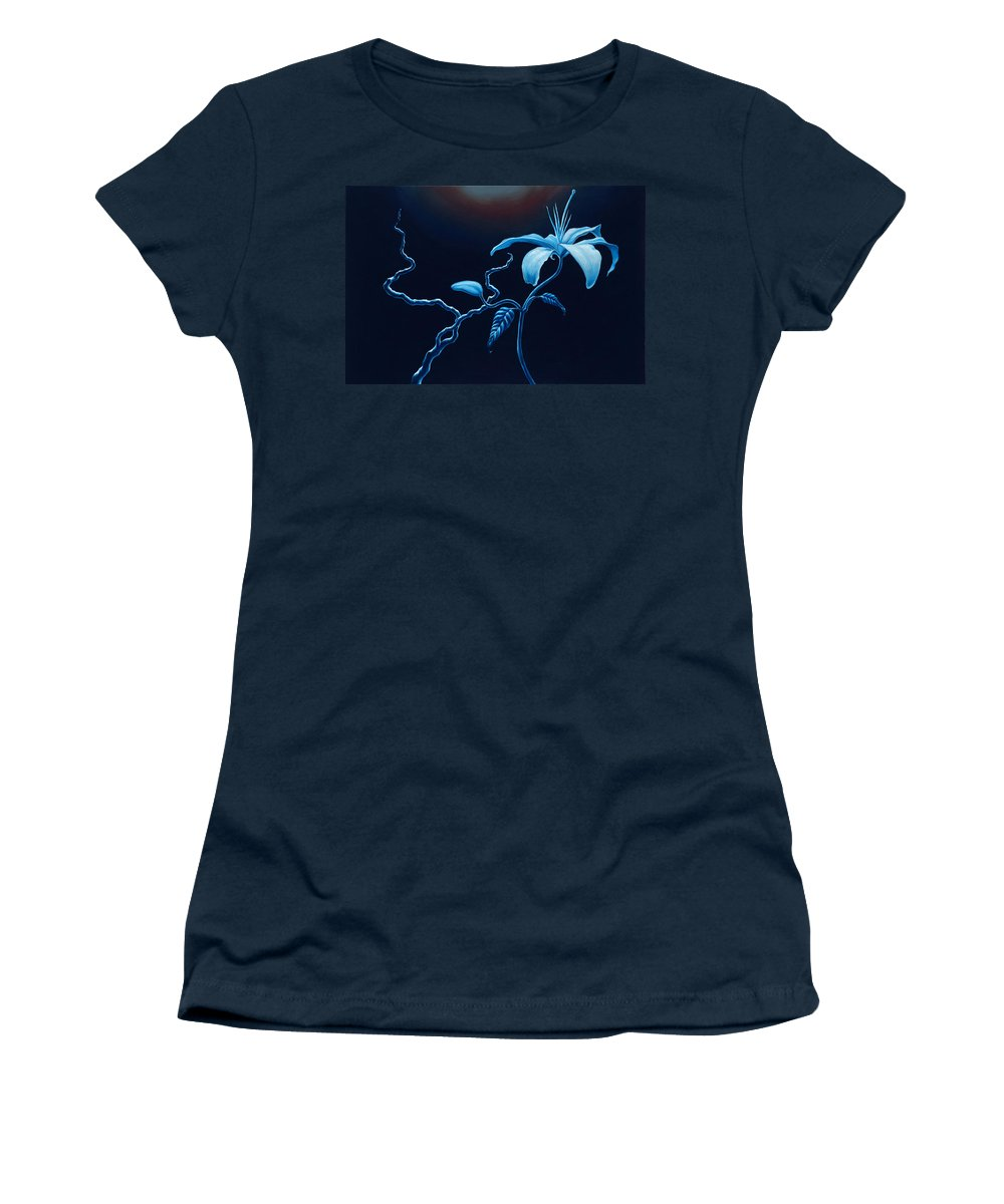 Lily Flower Women's T-Shirt (Athletic Fit) featuring the painting In Memorial by Jennifer McDuffie