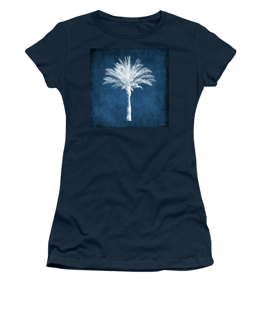 Palm Tree Women's T-Shirt featuring the mixed media Indigo and White Palm Tree- Art by Linda Woods by Linda Woods