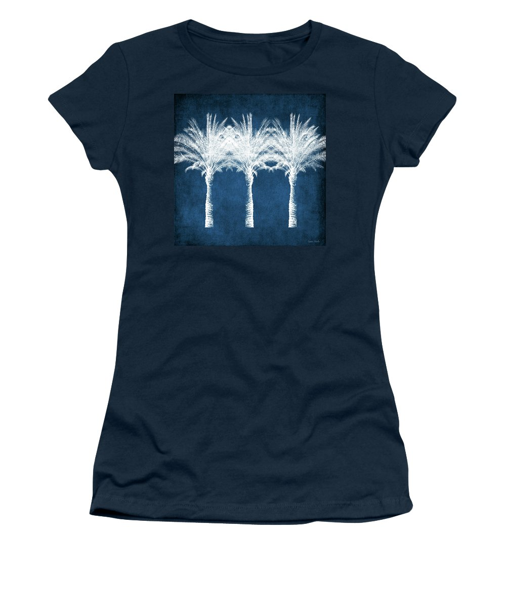 Palm Tree Women's T-Shirt featuring the mixed media Indigo And White Palm Trees- Art by Linda Woods by Linda Woods