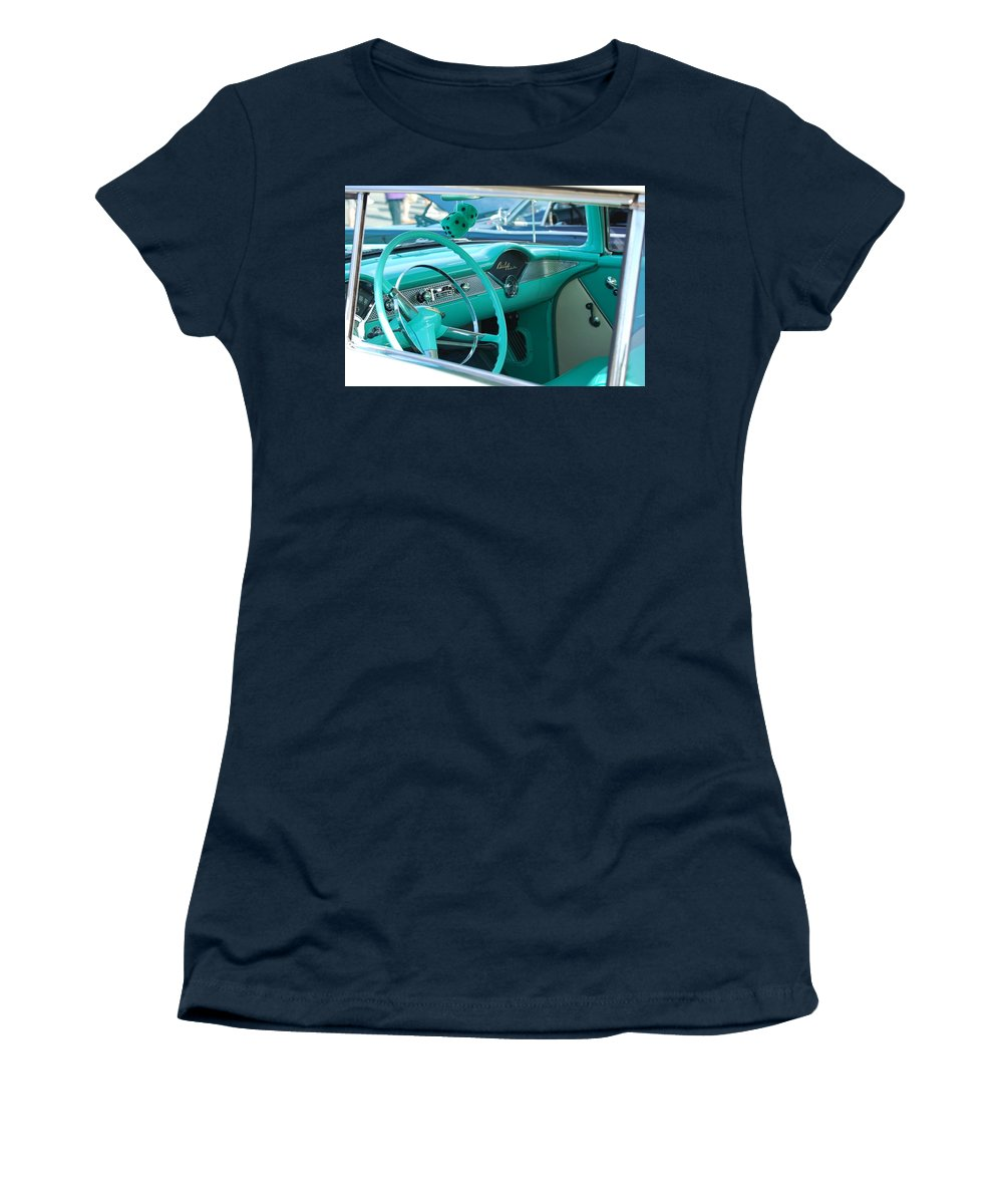 57 Chevy Women's T-Shirt featuring the photograph Inside A Classic by Eric Liller