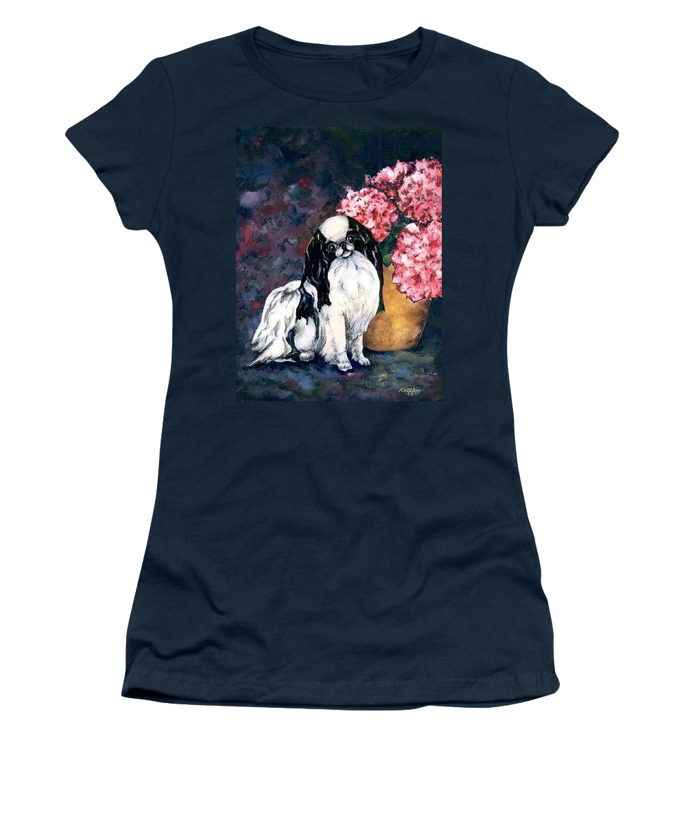 Japanese Chin Women's T-Shirt (Athletic Fit) featuring the painting Japanese Chin And Hydrangeas by Kathleen Sepulveda