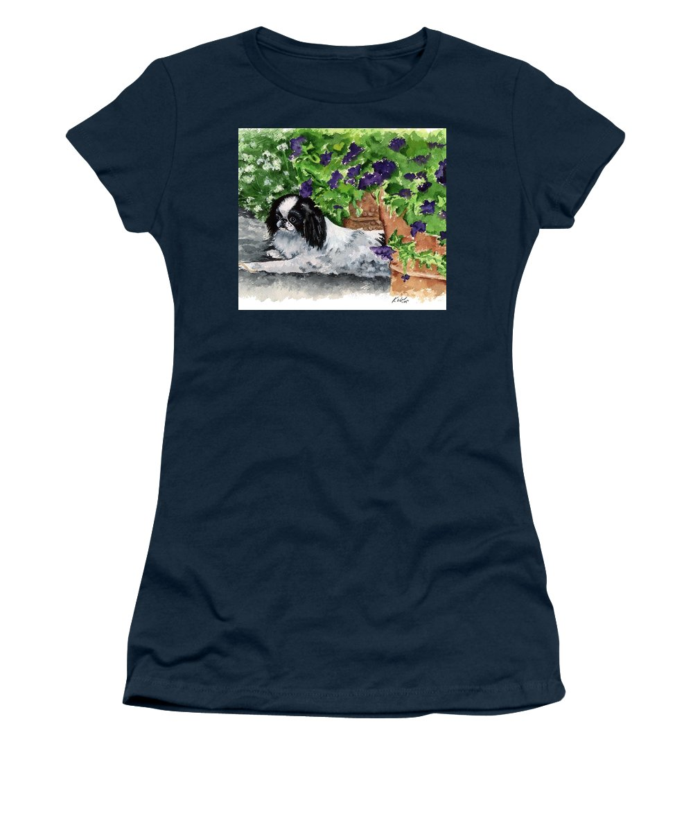 Japanese Chin Women's T-Shirt featuring the painting Japanese Chin Puppy and Petunias by Kathleen Sepulveda