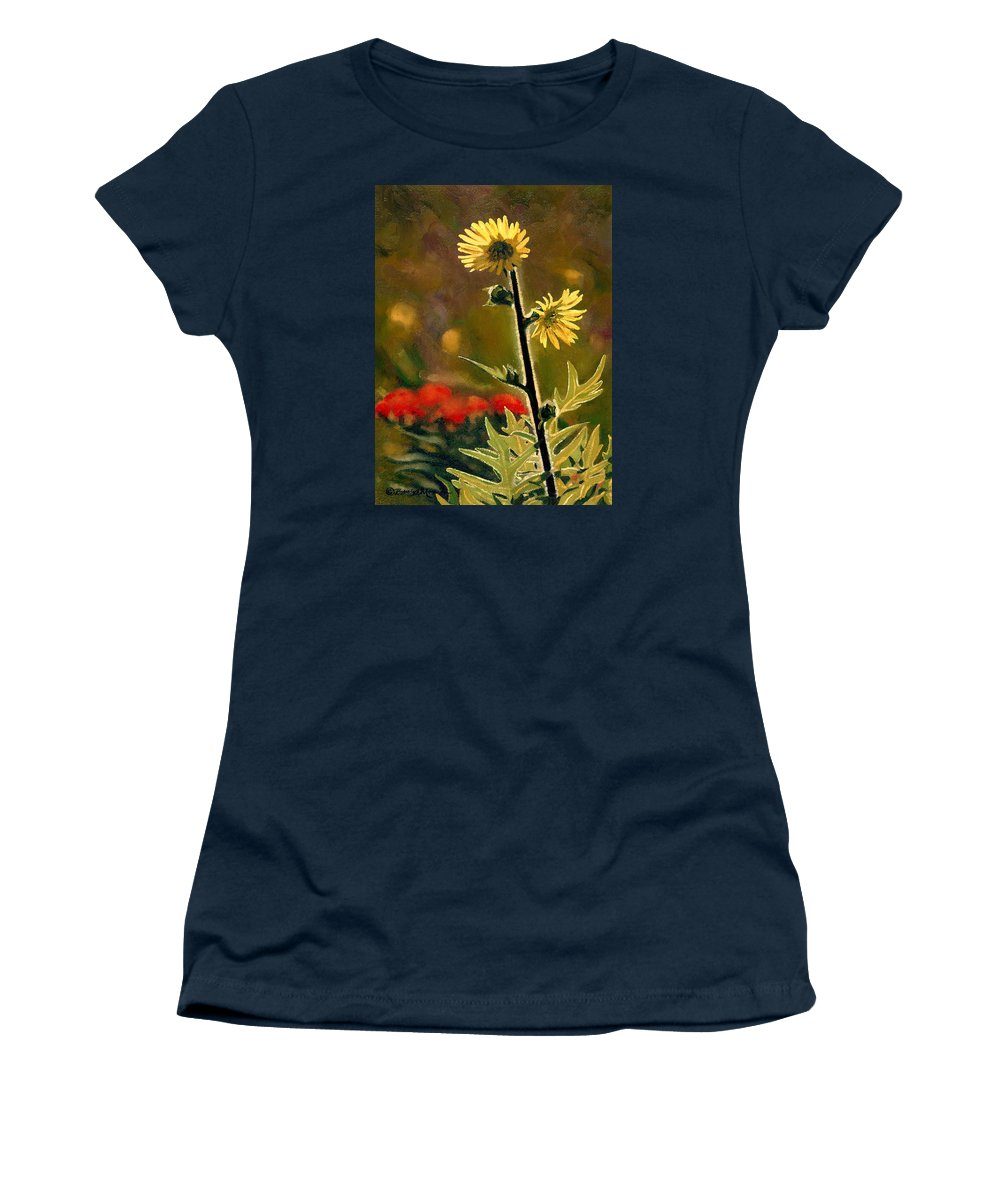 Prairie Flowers Women's T-Shirt featuring the painting July Afternoon-Compass Plant by Bruce Morrison