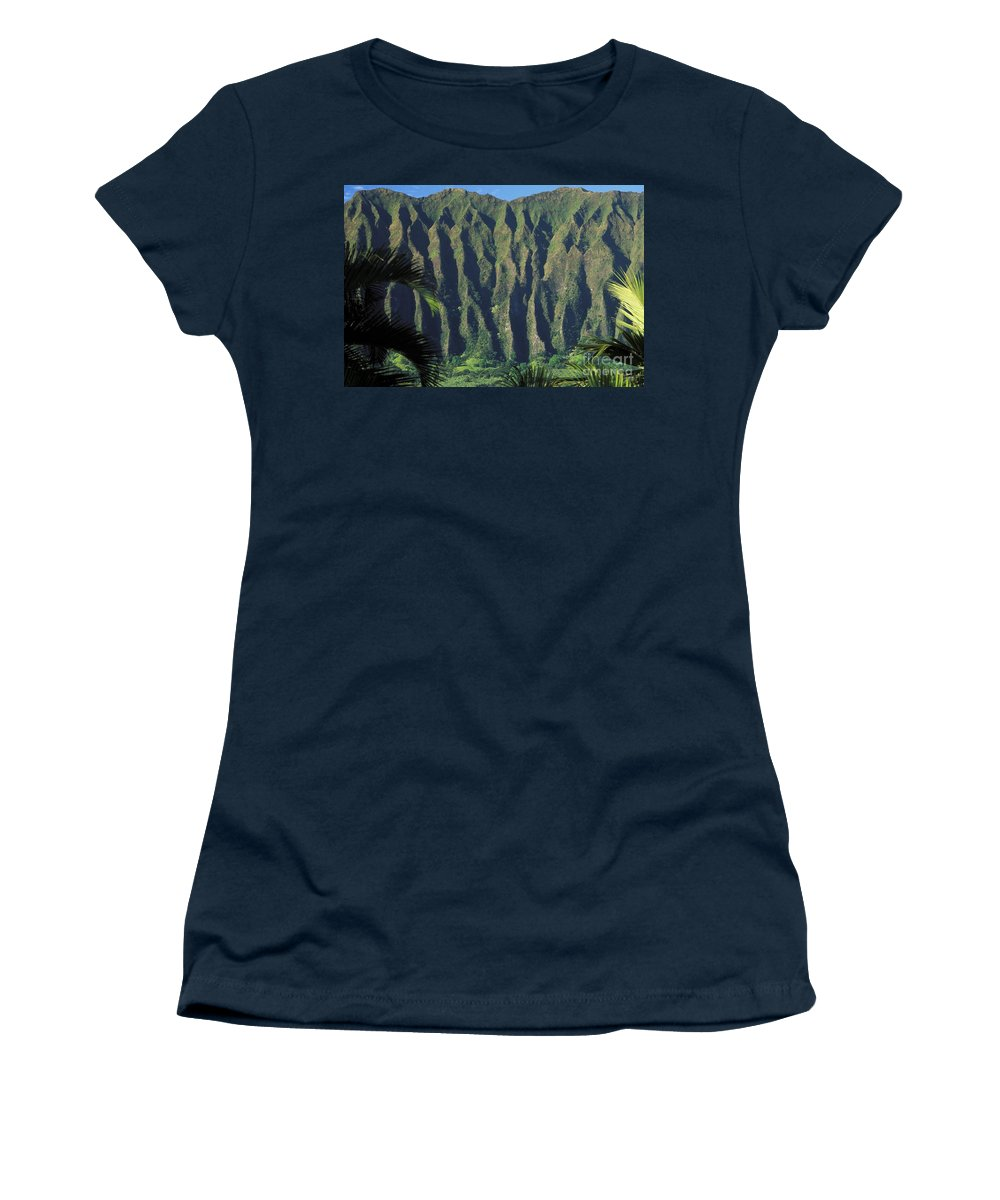 Blue Women's T-Shirt featuring the photograph Koolau Mountains by Peter French - Printscapes