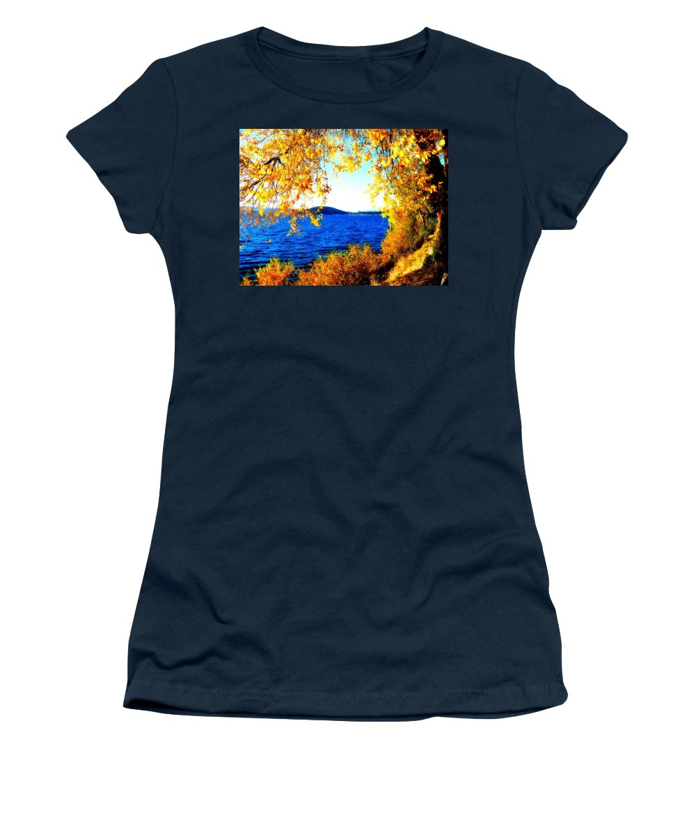 Lake Coeur D' Alene Women's T-Shirt (Athletic Fit) featuring the photograph Lake Coeur D'alene Through Golden Leaves by Carol Groenen