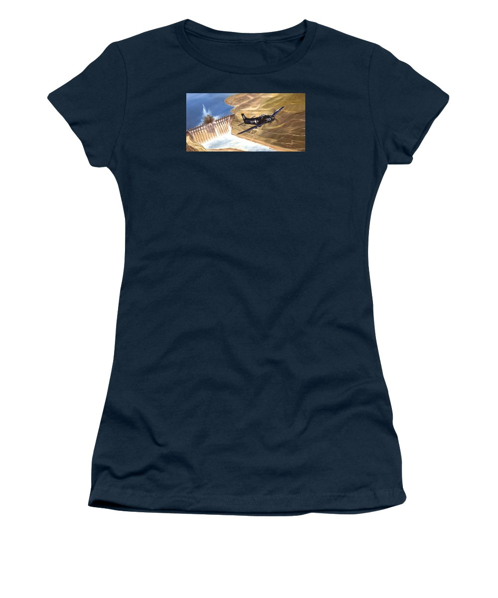 Military Women's T-Shirt featuring the painting Last of the Dambusters by Marc Stewart