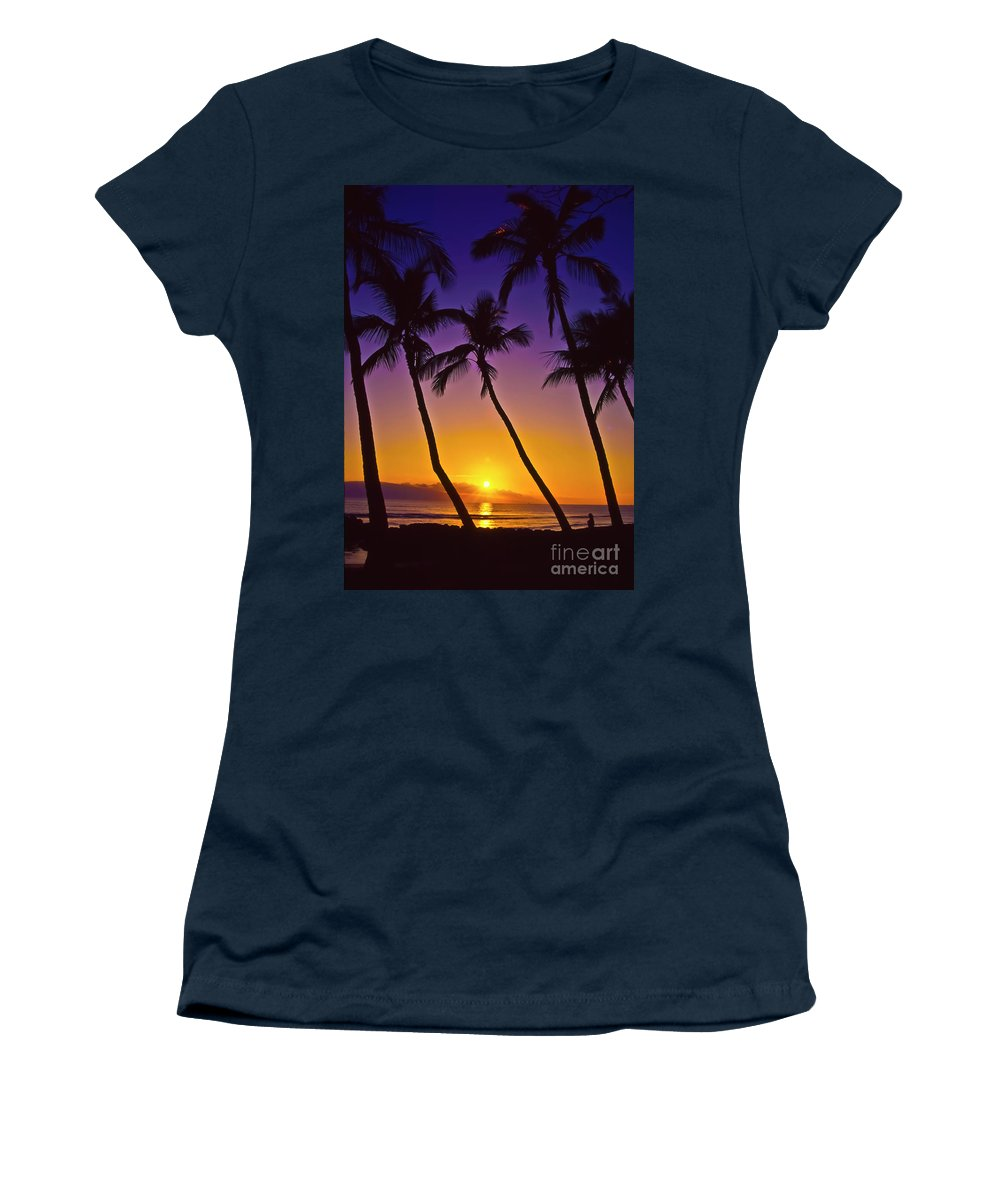 Sunset Women's T-Shirt (Athletic Fit) featuring the photograph Launiupoko Sunset by Jim Cazel