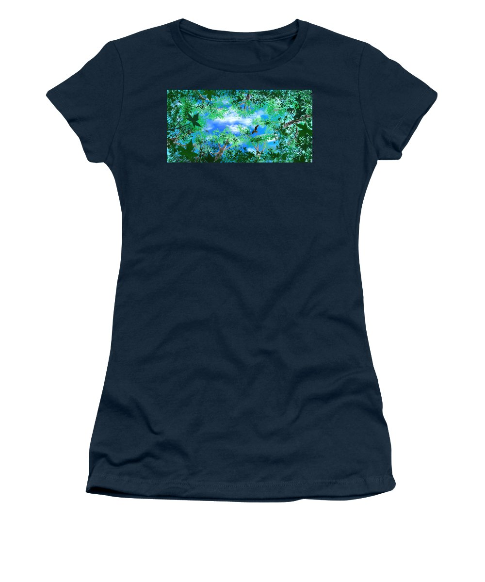 Skyscape Women's T-Shirt (Athletic Fit) featuring the digital art Laying On A Hammock by Steve Karol