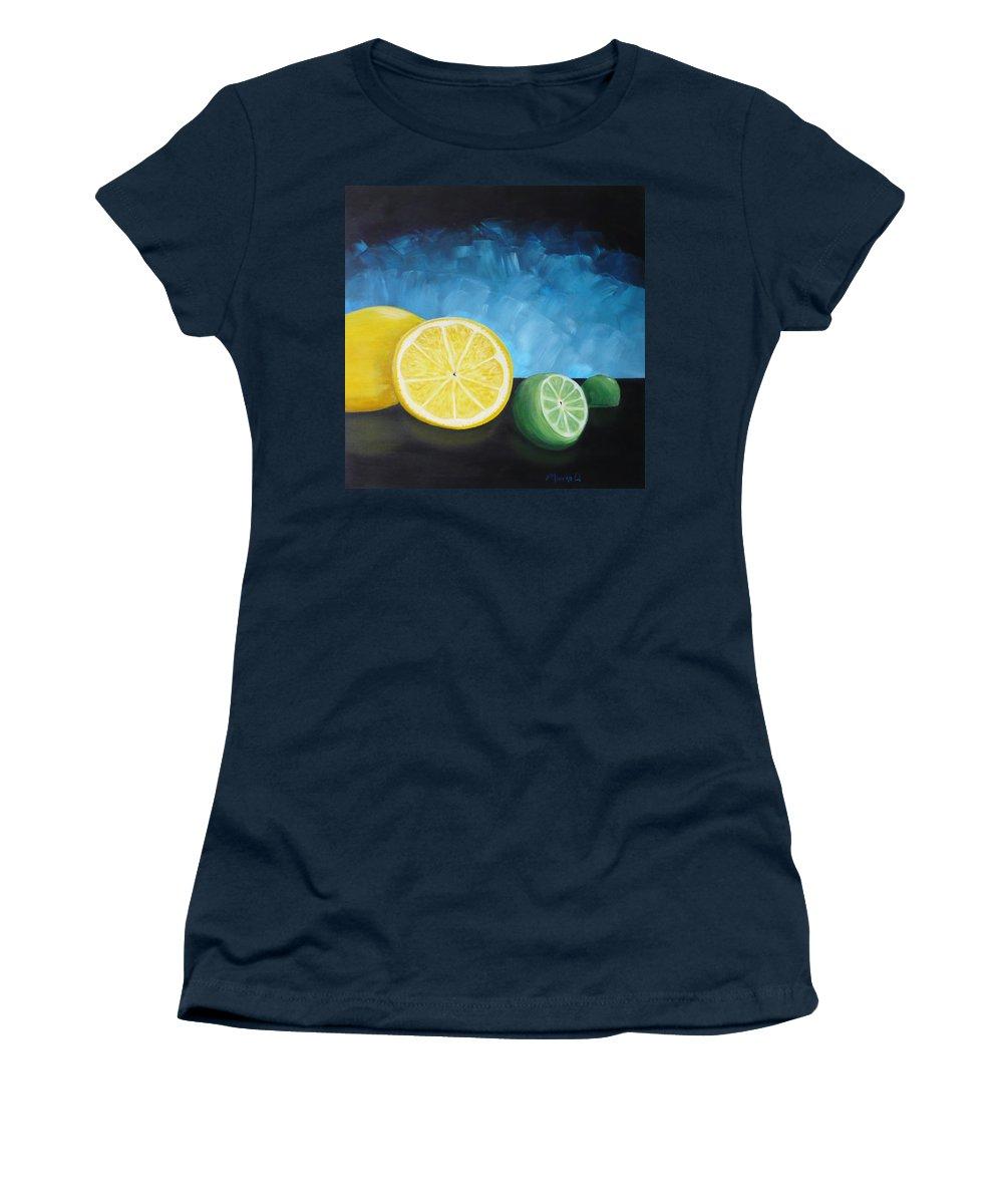 Lemon Women's T-Shirt (Athletic Fit) featuring the painting Lemon Lime by Monika Shepherdson