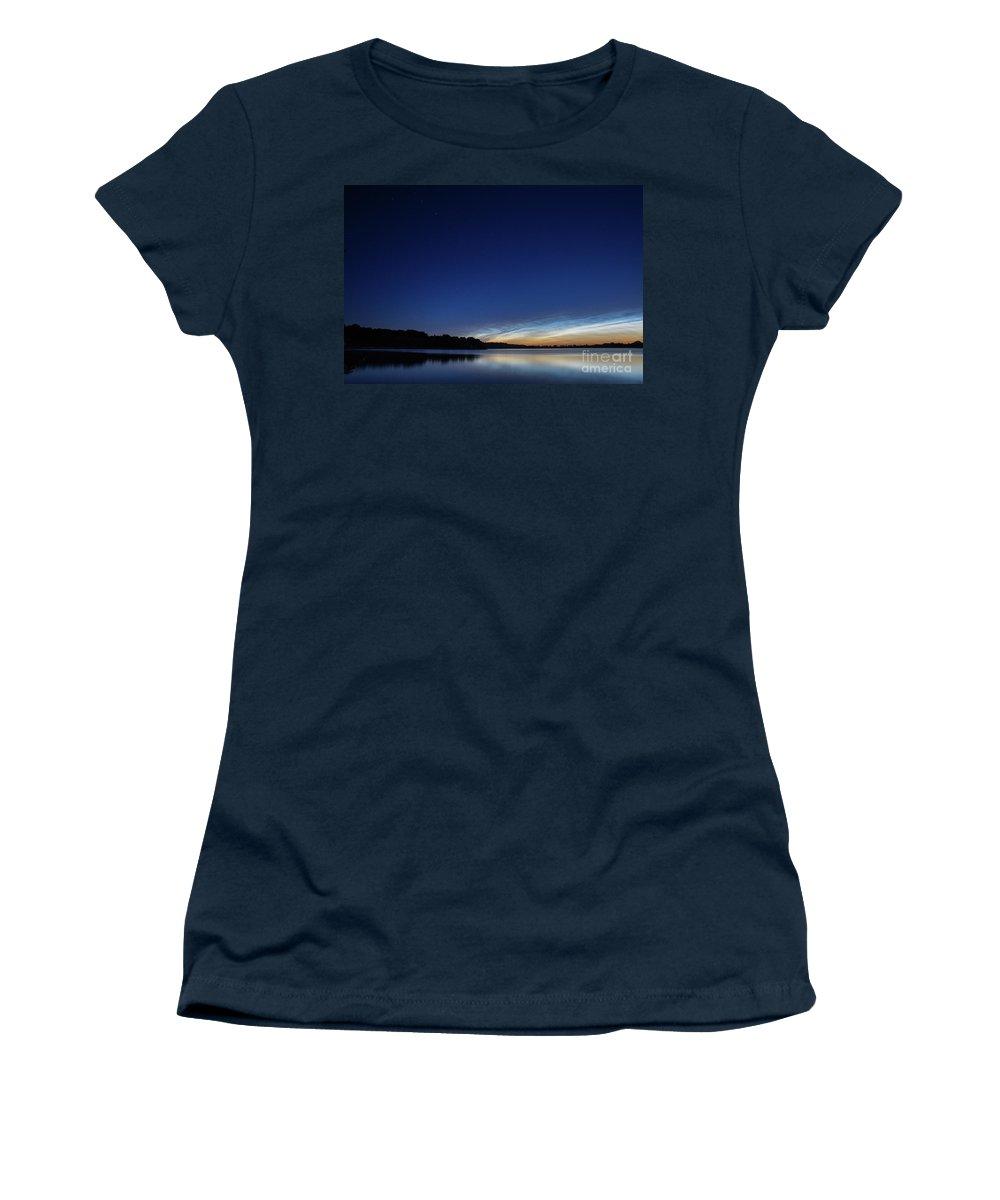 Drenthe Women's T-Shirt featuring the photograph Lichtende Nachtwolken , Noctilucent Clouds by Karin Broekhuijsen