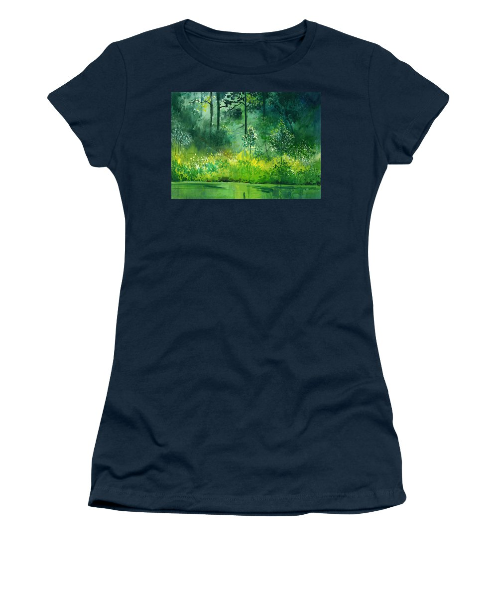 Water Women's T-Shirt (Athletic Fit) featuring the painting Light N Greens by Anil Nene