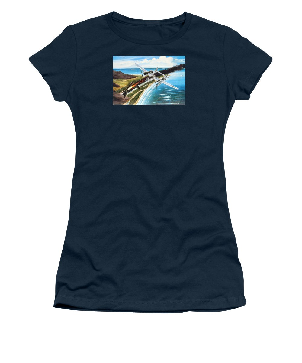 Aviation Women's T-Shirt featuring the painting Lightning Over Mindoro by Marc Stewart