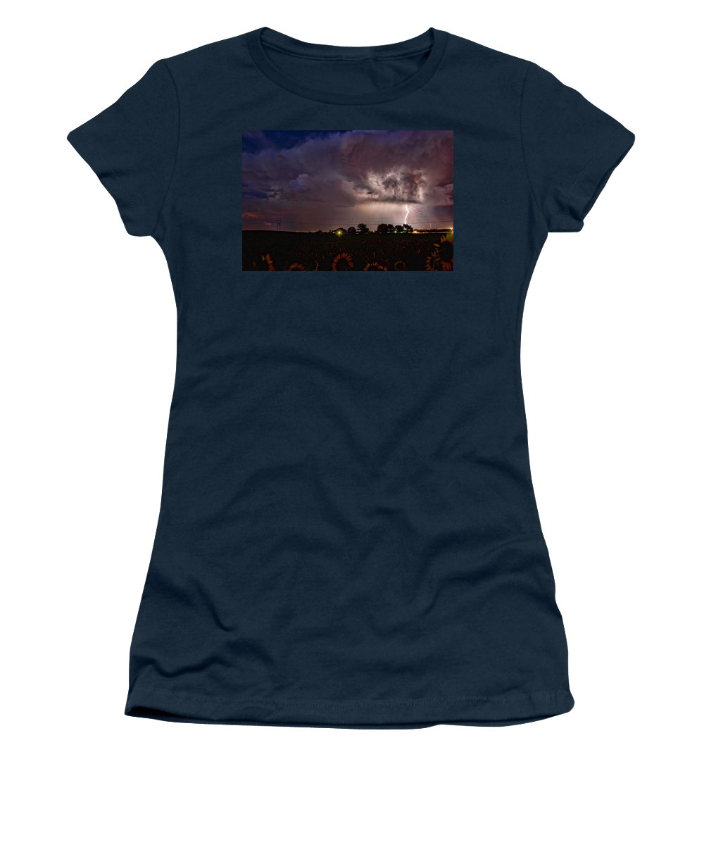 Sunflowers; Fields; Lightning; Lightening; Chasers; Lightning Poster; Lightning Photography; Lightning Gallery; Picture Of Lightning; Lightning Storm Pictures; Lightning Photos Colorado; Pictures Of Storm Clouds And Lightning; Lightning Art; Lightnen Women's T-Shirt featuring the photograph Lightning Stormy Weather Of Sunflowers by James BO Insogna