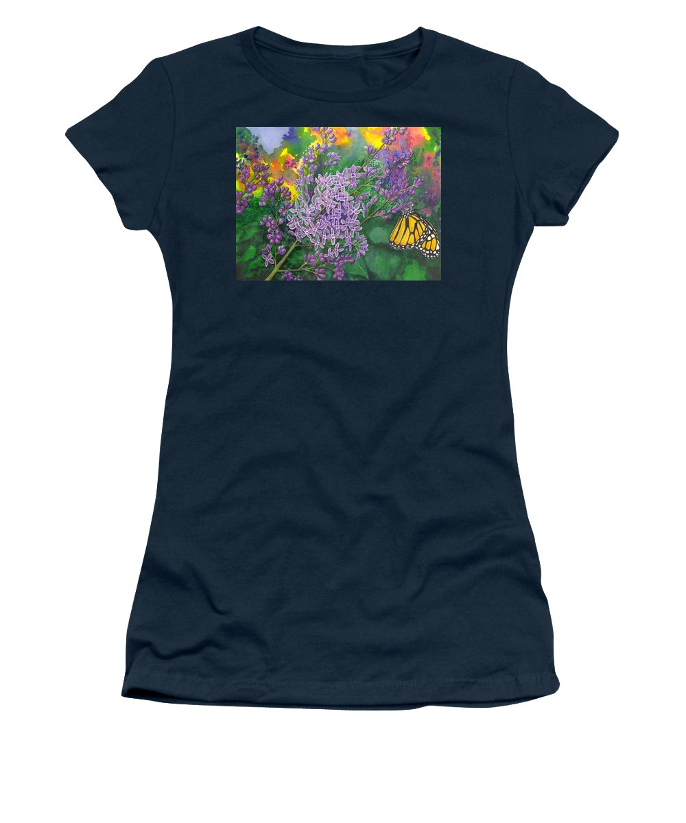 Lilac Women's T-Shirt featuring the painting Lilac by Catherine G McElroy