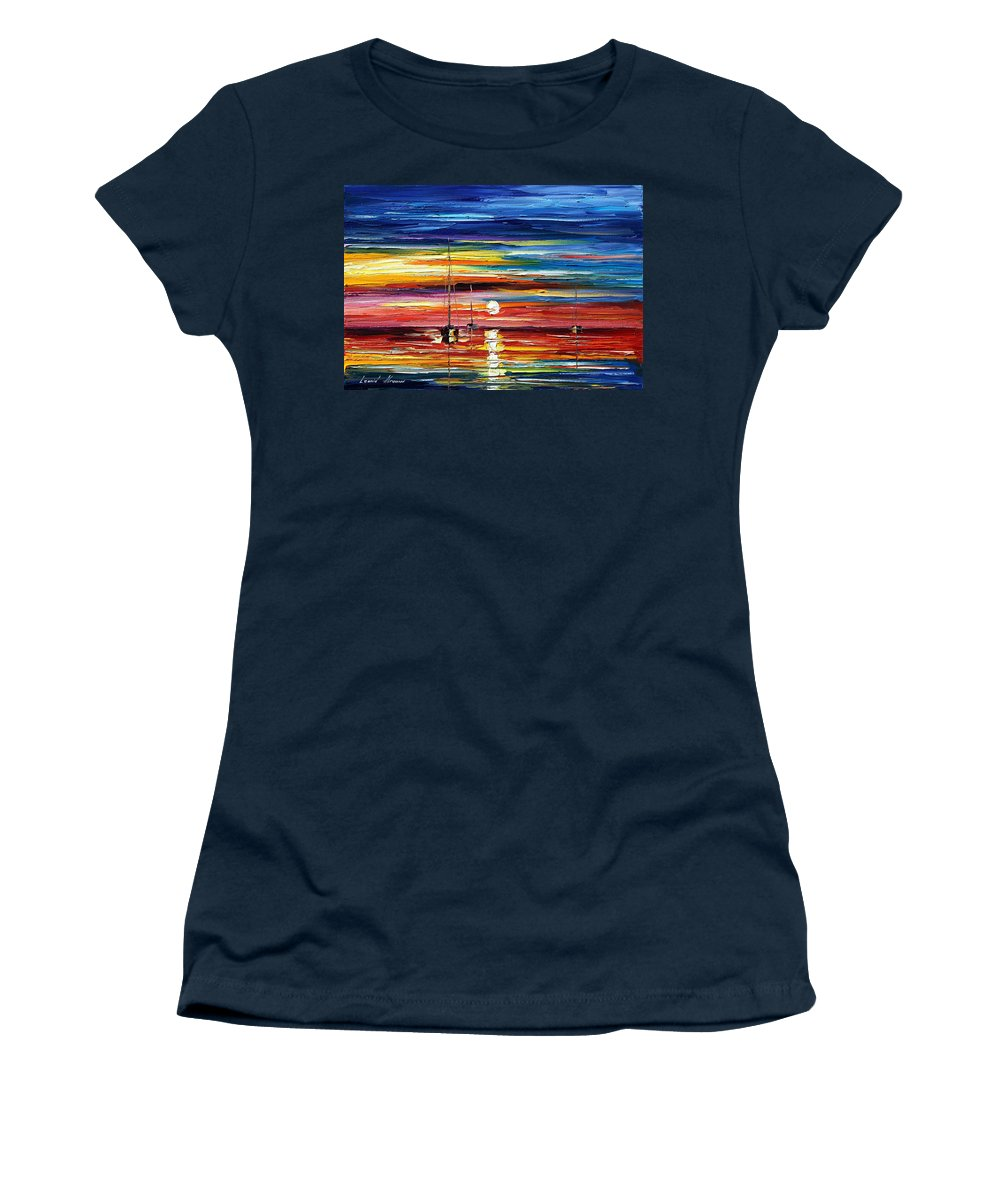 Boat Women's T-Shirt (Athletic Fit) featuring the painting Little Boat by Leonid Afremov