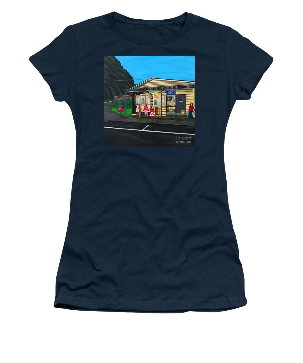 Buildings Women's T-Shirt (Athletic Fit) featuring the painting Little Oneroa Store by Sandra Marie Adams