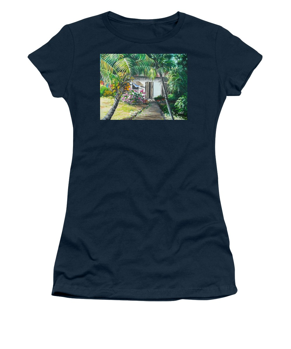 Caribbean Painting Typical Country House In Trinidad And The Islands With Coconut Tree Tropical Painting Women's T-Shirt (Athletic Fit) featuring the painting Little West Indian House 2...sold by Karin Dawn Kelshall- Best