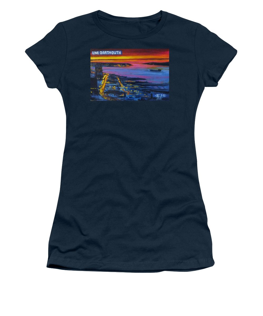 Night Scenes Women's T-Shirt featuring the painting Live Eye Over Dartmouth Ns by John Malone