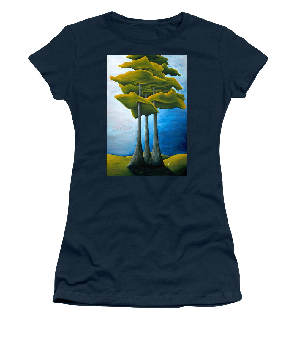 Landscape Women's T-Shirt featuring the painting Living In The Shadow by Richard Hoedl