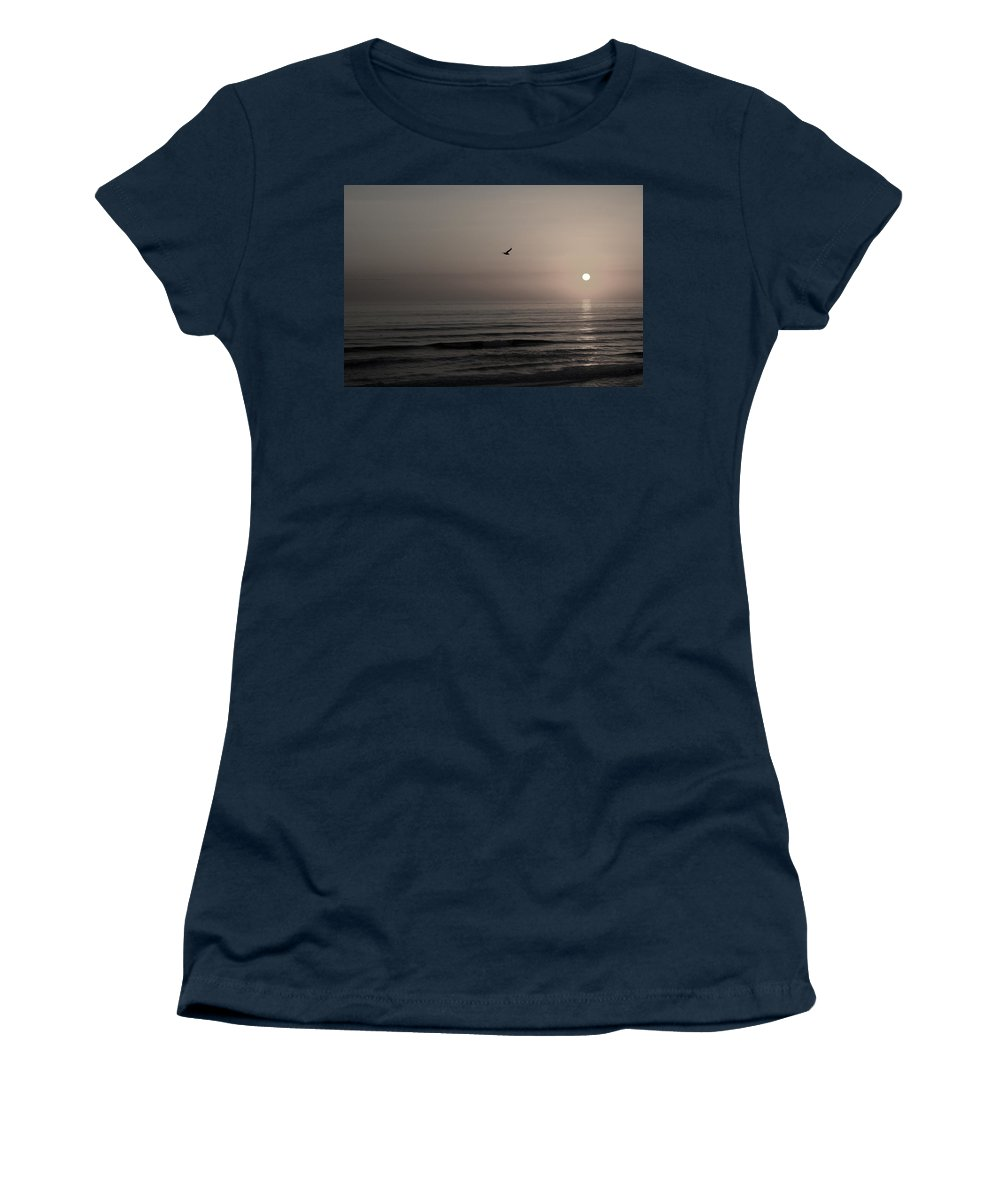 Beach Ocean Wave Sunrise Sunset Sun Bird Gull Fly Flight Water Vacation Peace Nature Relax Peace Women's T-Shirt (Athletic Fit) featuring the photograph Lonely Flight II by Andrei Shliakhau