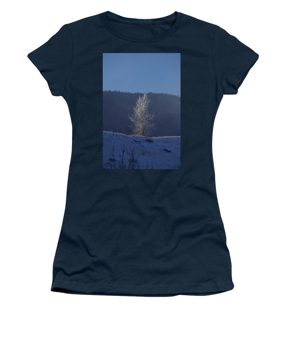 Lonely Women's T-Shirt featuring the photograph Lonely Frosty Tree by Cindy Johnston