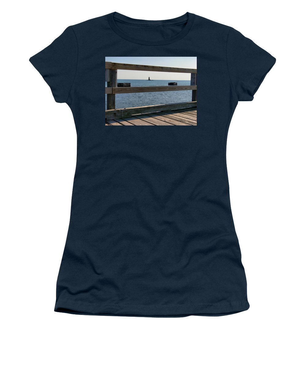 New England Lighthouse Women's T-Shirt featuring the photograph Looking Through by Nancie DeMellia