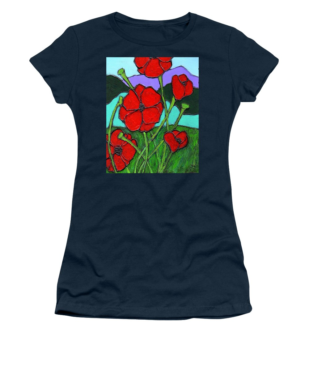 Poppies Women's T-Shirt (Athletic Fit) featuring the painting Looking Up by Wayne Potrafka