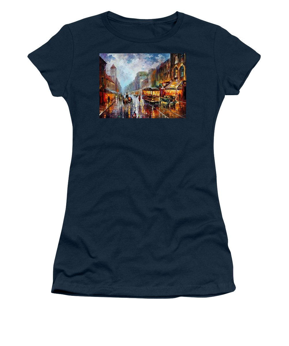 Afremov Women's T-Shirt featuring the painting Los Angeles 1925 by Leonid Afremov