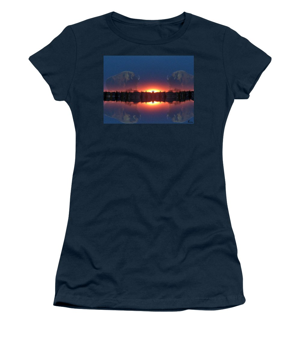 Tee Pee Native Buffalo Bison Lake Water Trees Forest Nature Reflection Lost World Women's T-Shirt featuring the photograph Lost World Reflections by Andrea Lawrence