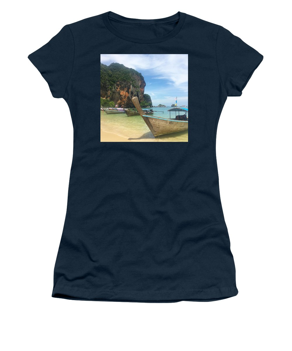 Thailand Women's T-Shirt featuring the photograph Lounging Longboats by Ell Wills