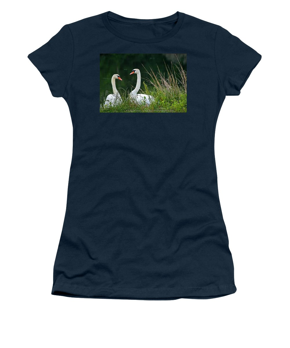 Clay Women's T-Shirt featuring the photograph Loving Swans by Clayton Bruster