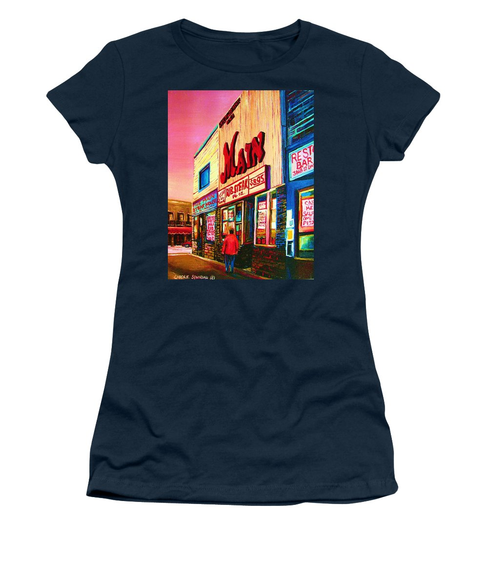 Montreal Women's T-Shirt (Athletic Fit) featuring the painting Main Steakhouse Blvd.st.laurent by Carole Spandau