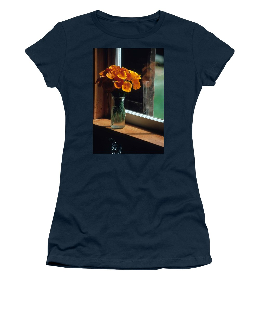 Maine Windowsill Women's T-Shirt (Athletic Fit) featuring the photograph Maine Windowsill by Laurie Paci