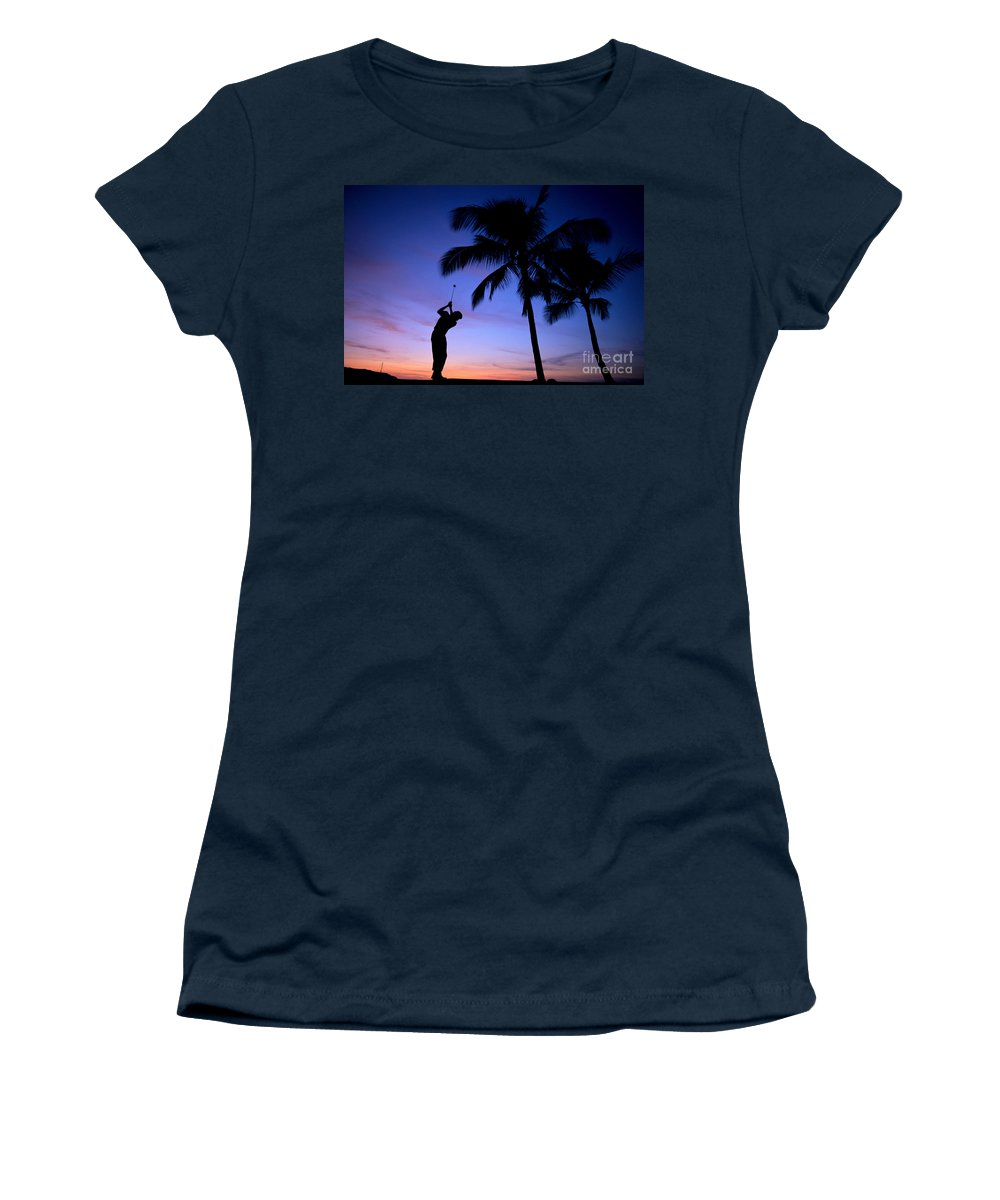 A17c Women's T-Shirt featuring the photograph Man Swinging Driver by Kyle Rothenborg - Printscapes