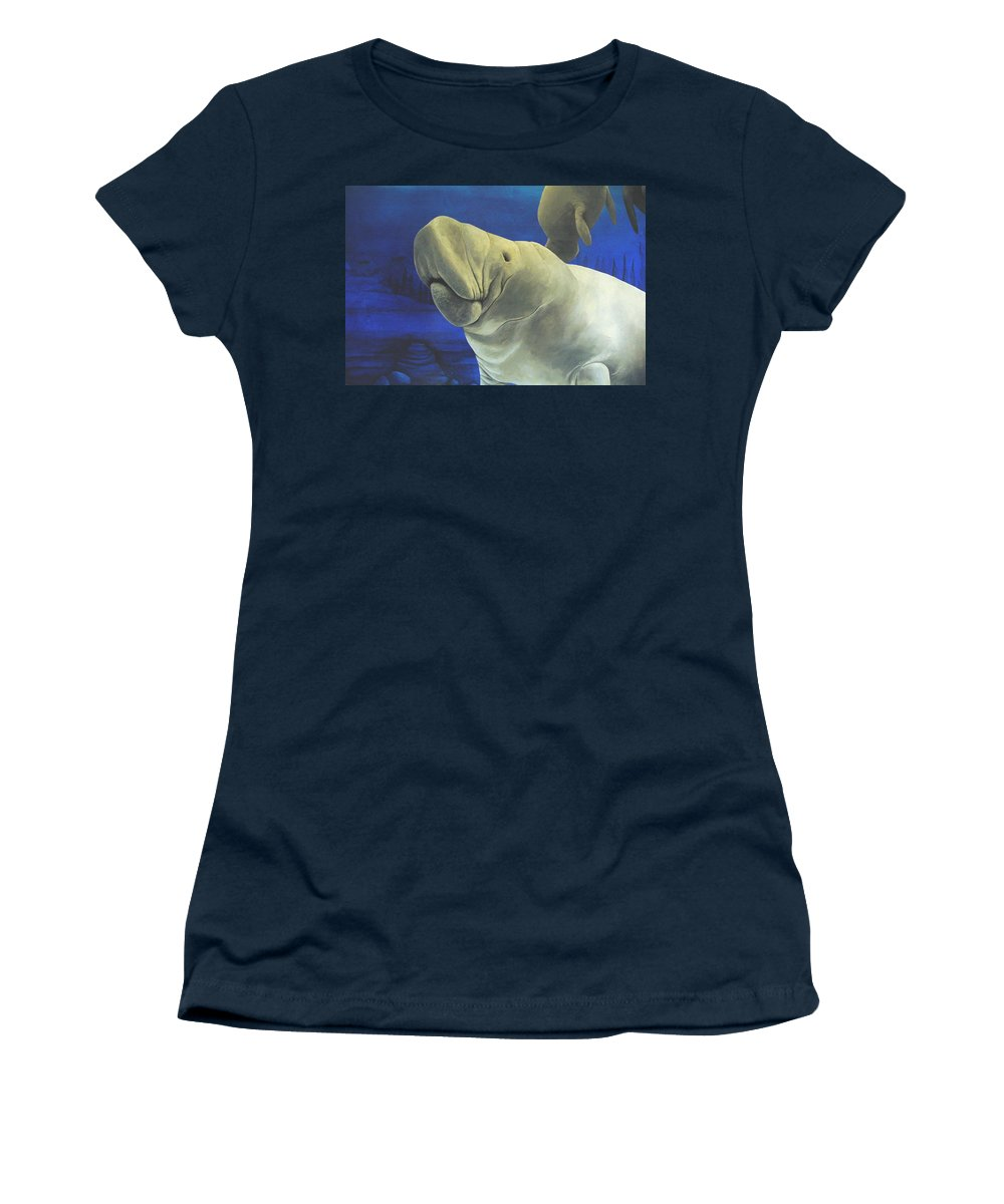 Manatee Women's T-Shirt (Athletic Fit) featuring the painting Manatee by Cindy D Chinn