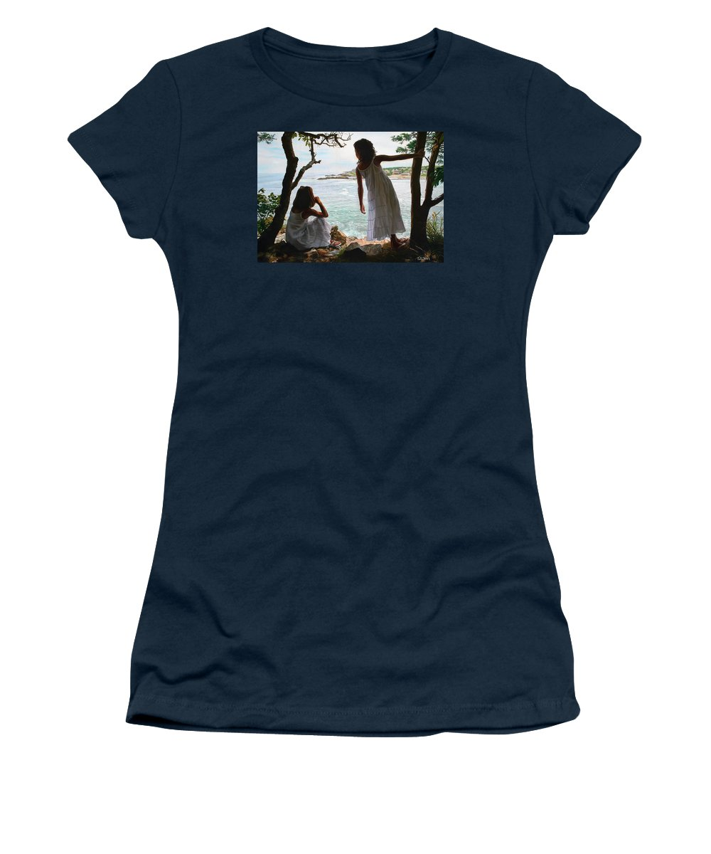 Figurative Women's T-Shirt featuring the painting Marginal Way by Tom Sierak
